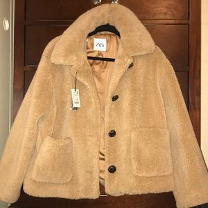 Faux Fur Teddy Coat — ZARA